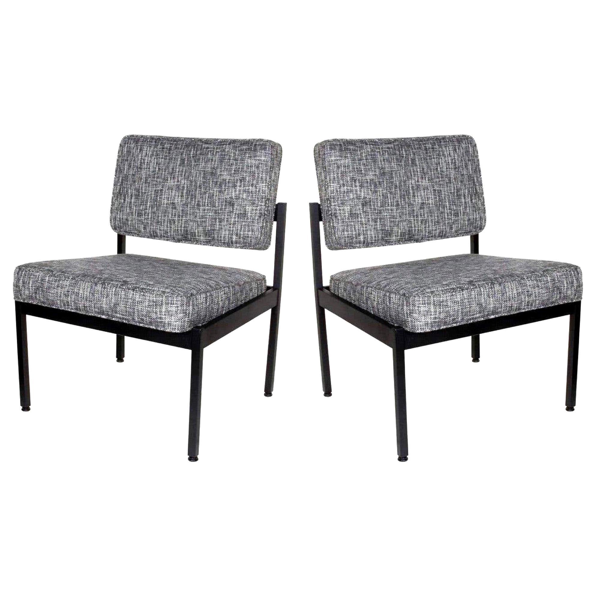 Pair of Vintage Knoll Style Industrial Chairs in Black Tweed, c. 1970's