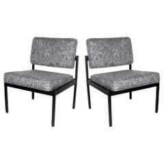 Pair of Vintage Knoll Style Industrial Chairs in Black Tweed, c. 1970's
