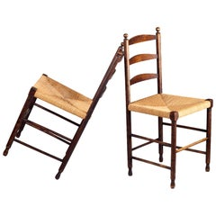 Pair of Vintage Ladder Back Shaker Chairs with Rush Seat