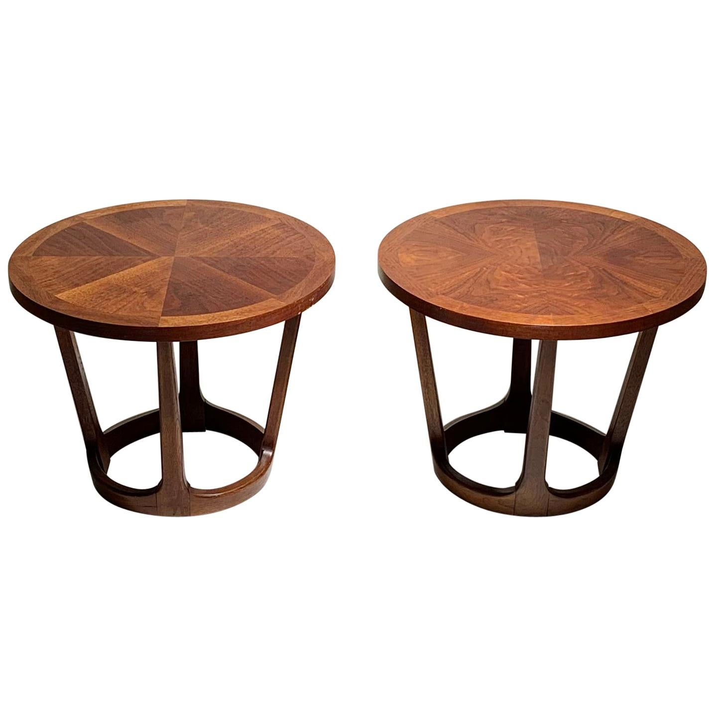Merveilleux Pair Of Vintage Lane Round Drum End Table 997 22 / Rhythm Collection For  Sale