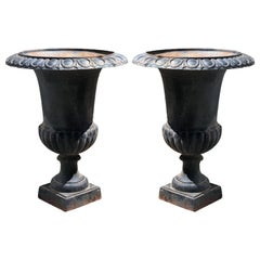 Pair of Vintage Large Black Cast Iron Neoclassical Urn Planters