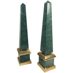 Pair of Vintage Large Green Obelisks, Brass Mounted