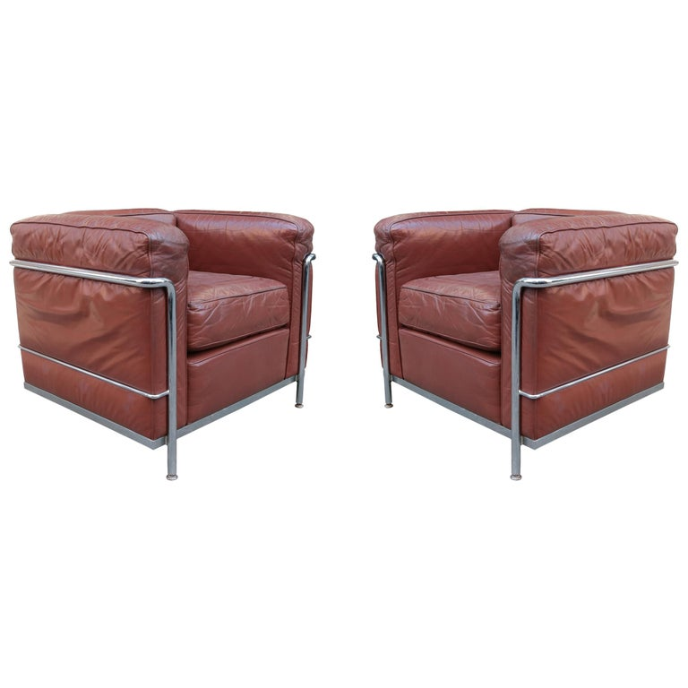 Pair of Vintage LC2 Corbusier Armchairs For Sale
