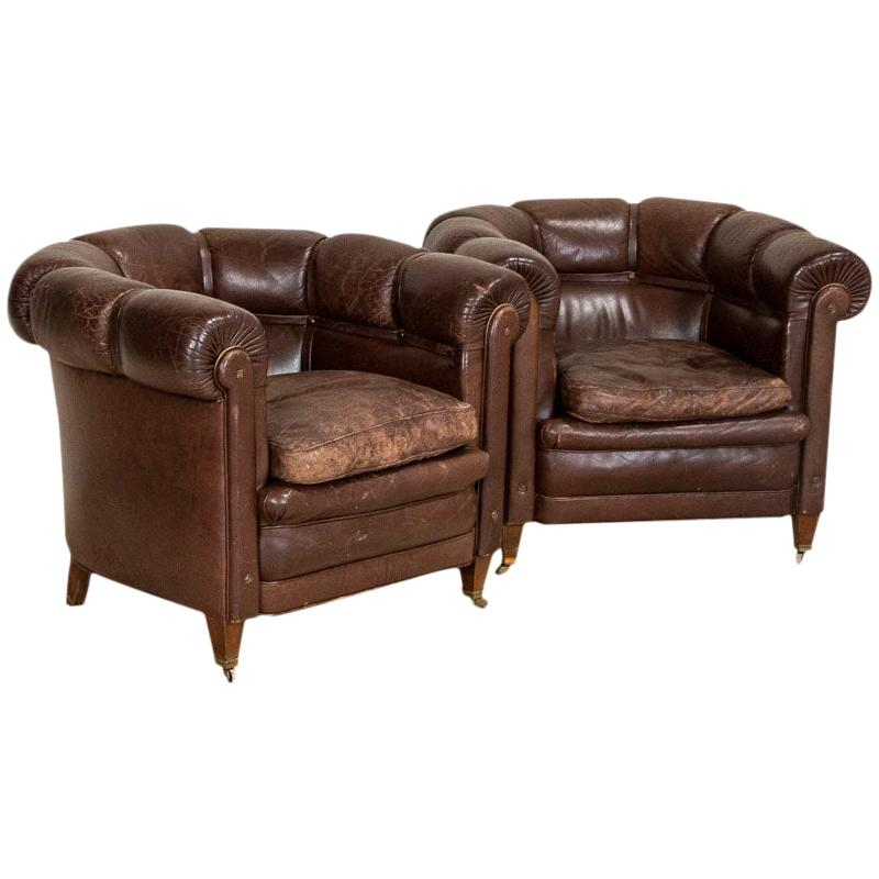 Pair of Vintage Leather Barrel Armchairs Club Chairs, England