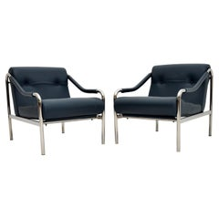 Pair of Vintage Leather Beta Armchairs by Pieff