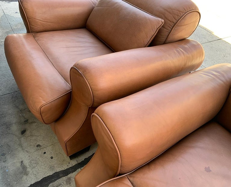Pair of Vintage Leather Chairs by Nienkamper For Sale 8