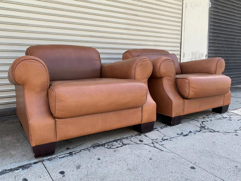 Modern Pair of Vintage Leather Chairs by Nienkamper For Sale