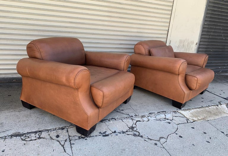 Canadian Pair of Vintage Leather Chairs by Nienkamper For Sale