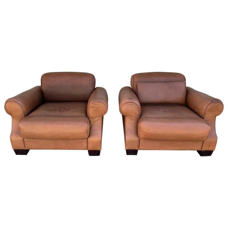 Pair of Vintage Leather Chairs by Nienkamper For Sale