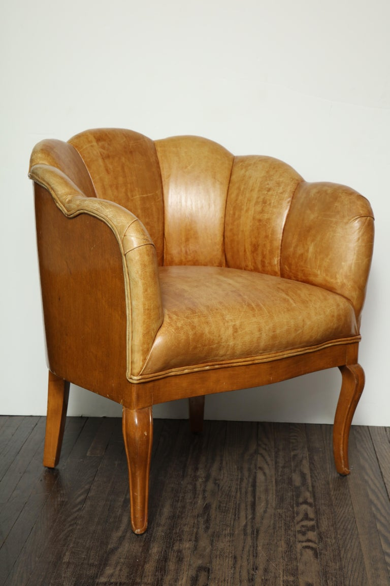 Pair of Vintage Leather Channel Back Petite Chairs For Sale 4