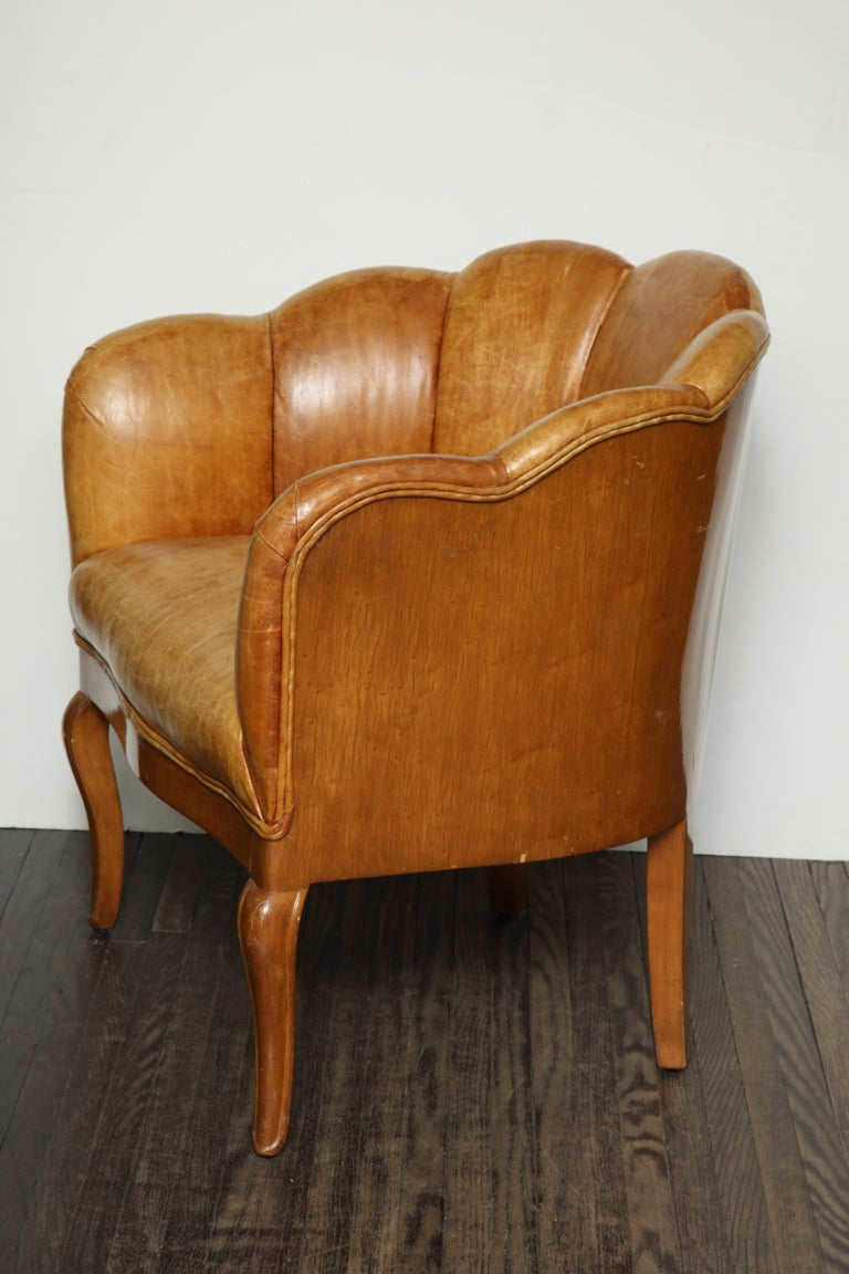 Pair of Vintage Leather Channel Back Petite Chairs For Sale 5
