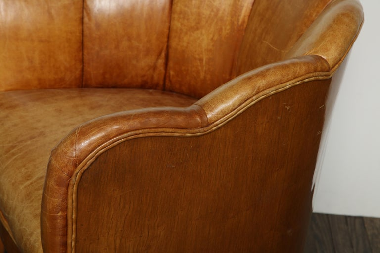 Pair of Vintage Leather Channel Back Petite Chairs For Sale 6