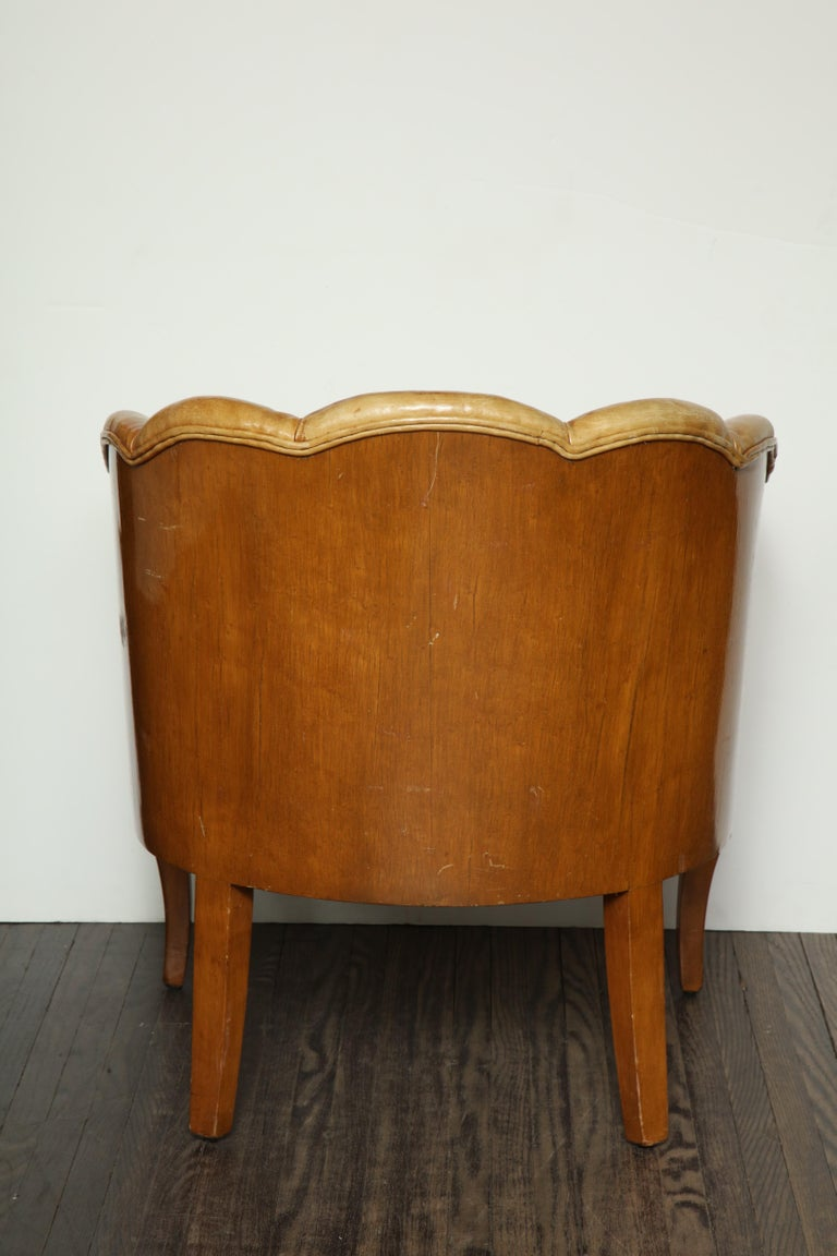 Pair of Vintage Leather Channel Back Petite Chairs For Sale 7