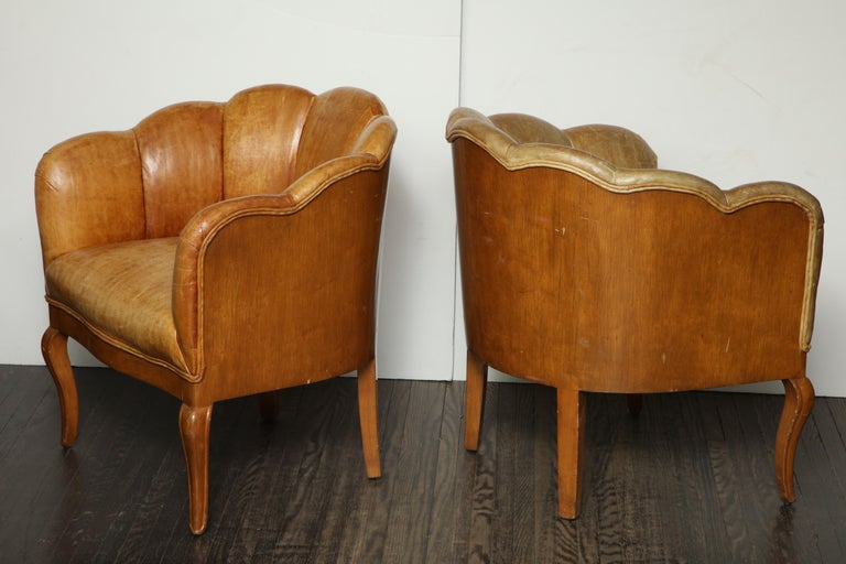 Mid-Century Modern Pair of Vintage Leather Channel Back Petite Chairs For Sale