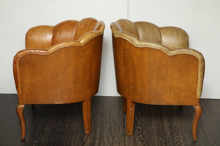 European Pair of Vintage Leather Channel Back Petite Chairs For Sale