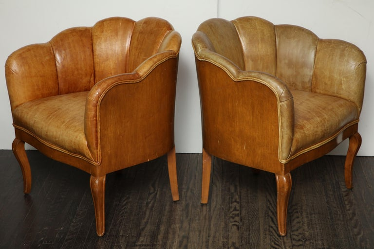 Pair of Vintage Leather Channel Back Petite Chairs In Good Condition For Sale In New York, NY