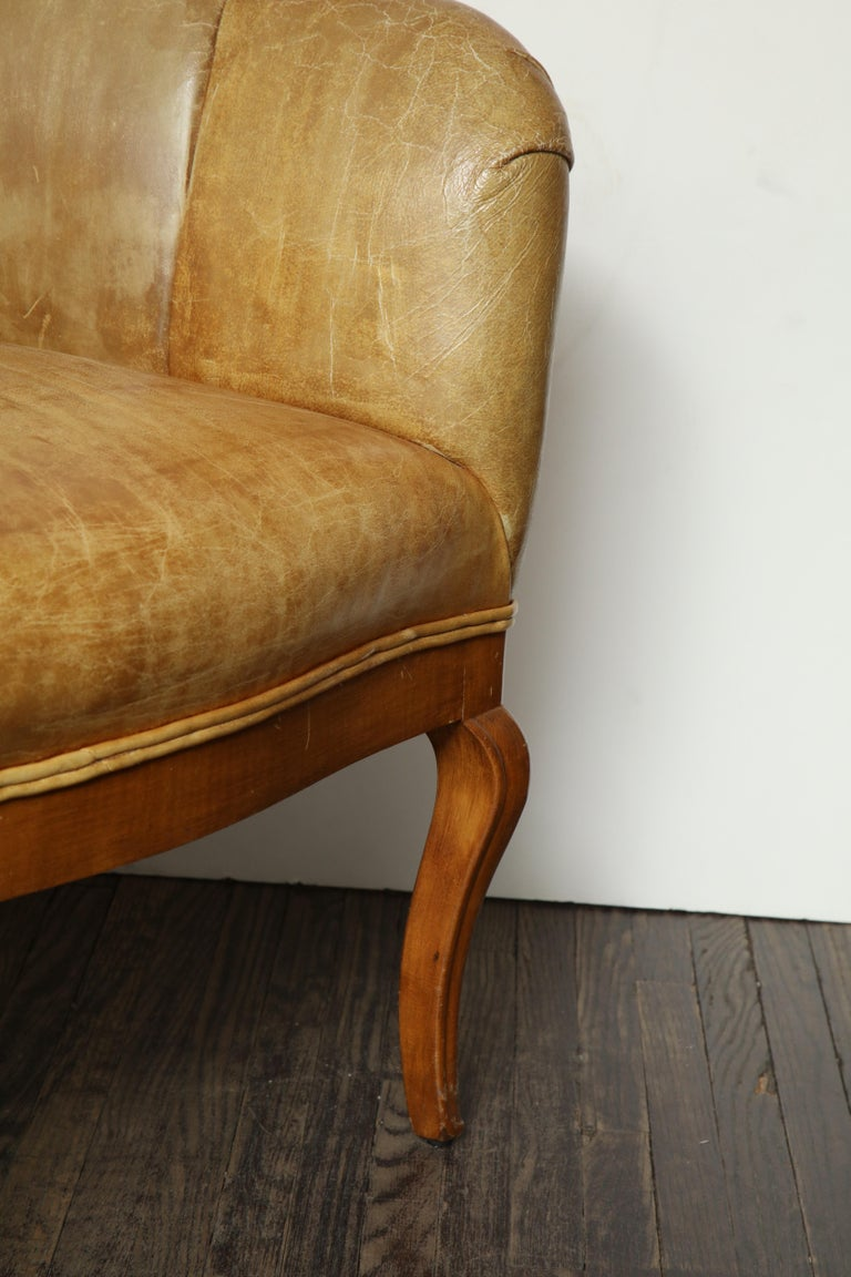 20th Century Pair of Vintage Leather Channel Back Petite Chairs For Sale