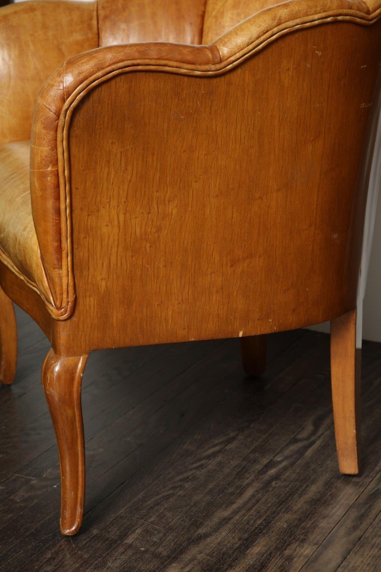 Pair of Vintage Leather Channel Back Petite Chairs For Sale 1