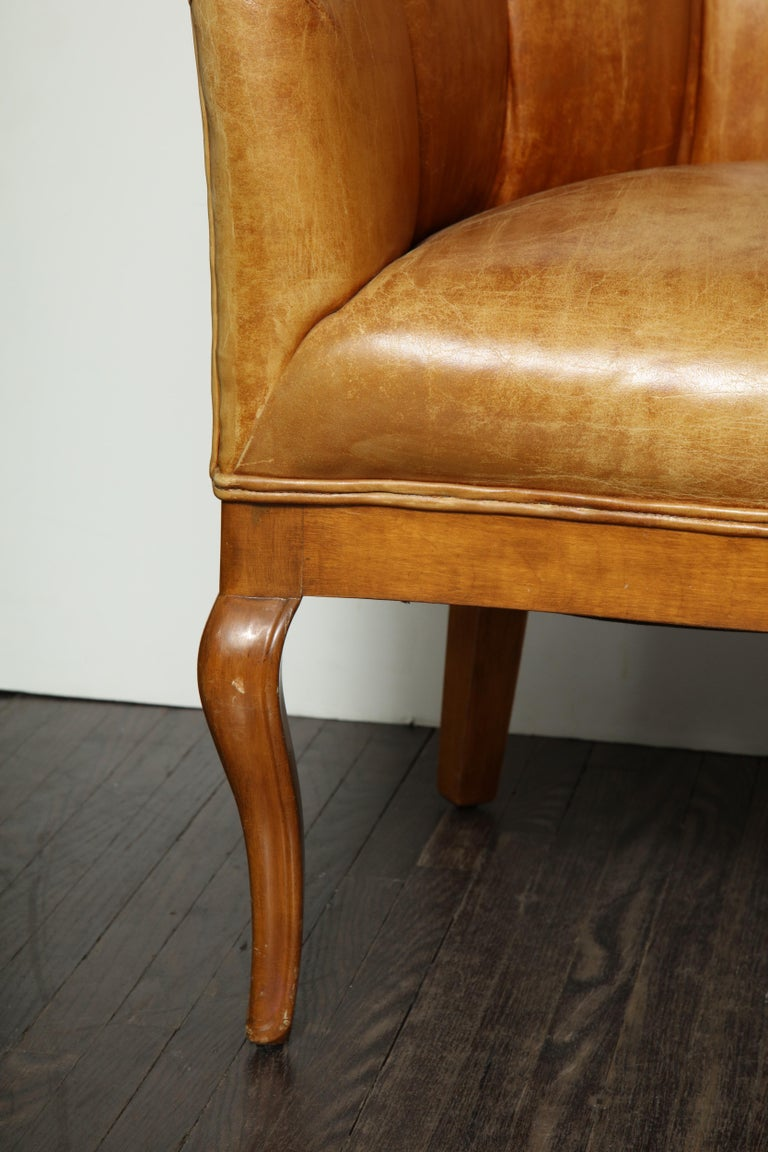 Pair of Vintage Leather Channel Back Petite Chairs For Sale 3