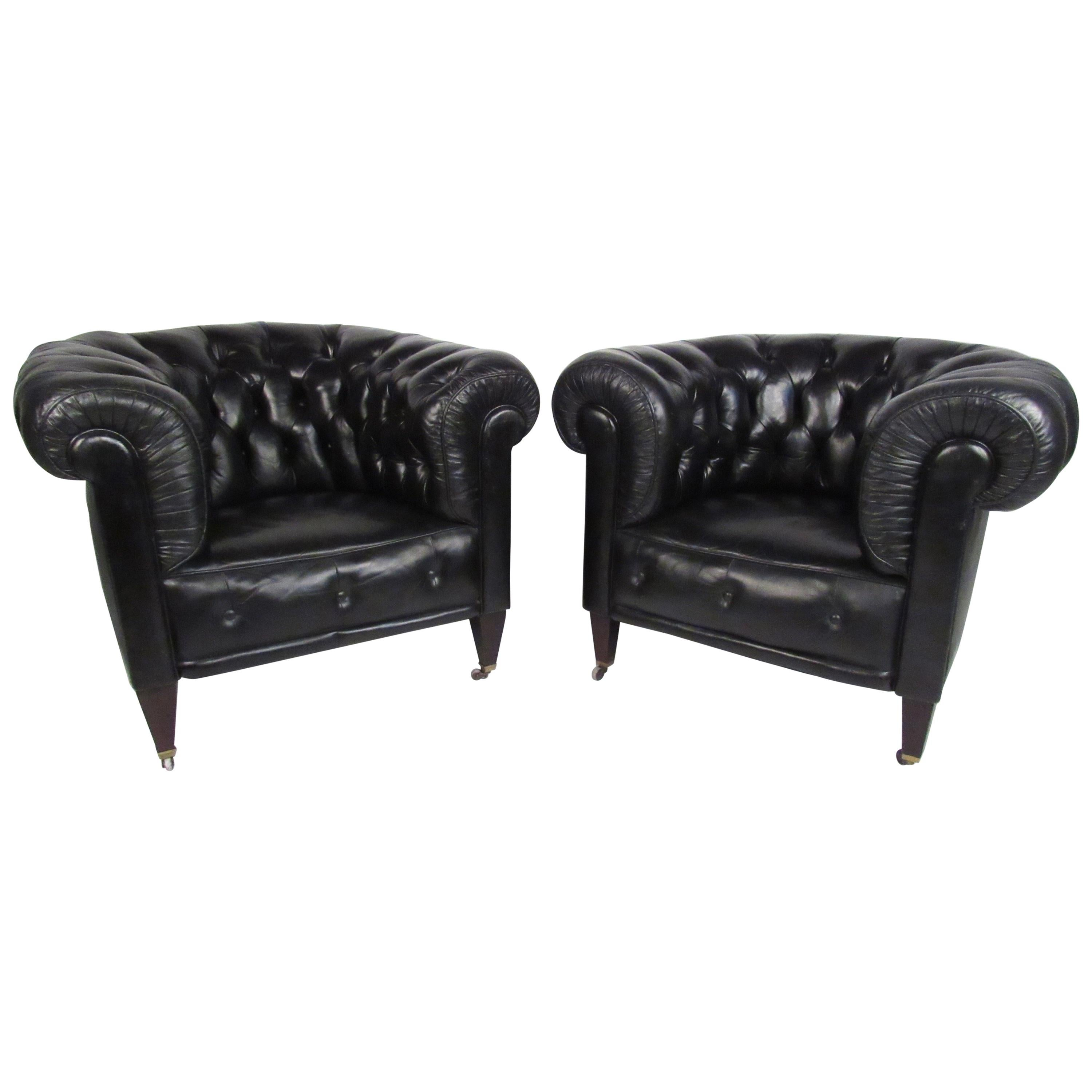Pair of Vintage Leather Chesterfield Club Chairs