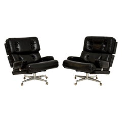 Pair of Vintage Leather / Chrome Armchairs & Ottoman by Howard Keith