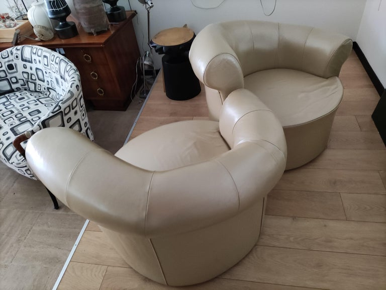 Leather Pair of Swiveling