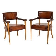 Pair of Vintage Leather & Oak Armchairs, c.1960's