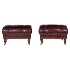 Pair of Brown Leather Ottomans