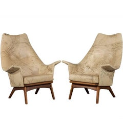 Pair of Vintage Leather Parlor Chairs
