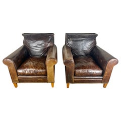 Pair of Vintage Leather Ralph Lauren Club Chairs, Mid-20th Century