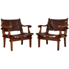 Pair of Vintage Leather Safari Armchairs by Angel Pazmino