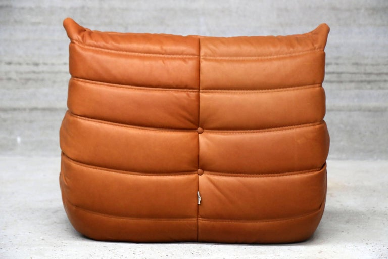 Pair of Vintage Ligne Roset Togo Leather Lounge Chairs with Pouf, France For Sale 5