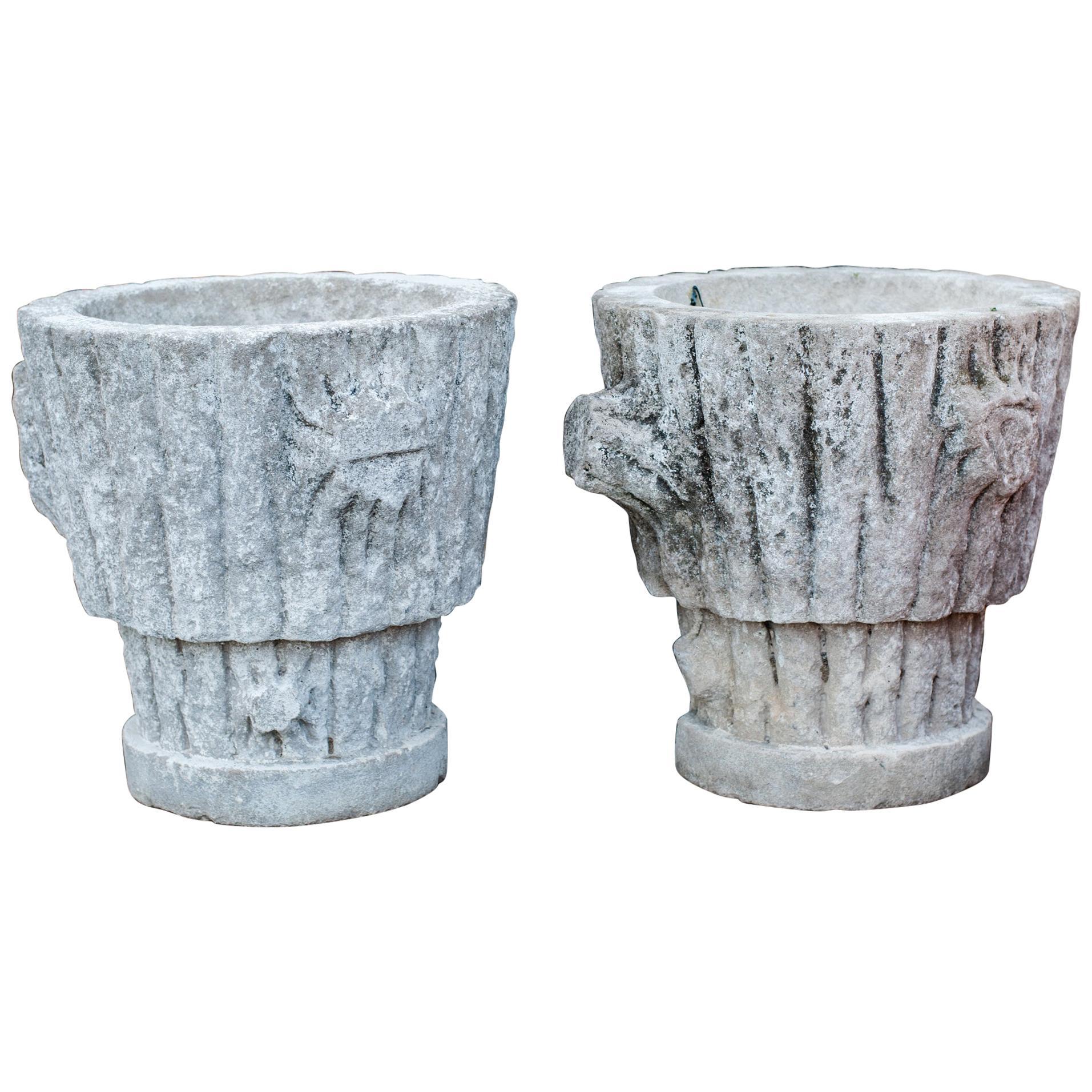 Pair of Vintage Limestone Faux Bois Planters