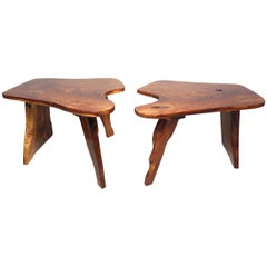 Pair of Vintage Live-Edge Tables