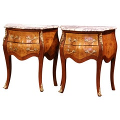 Pair of Vintage Louis XV Burl Walnut Bombe Nightstands Chests with Marble Top