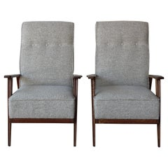 Pair of Vintage Lounge Chairs in the Style of Pierre Jeanrenet, France, 1950s