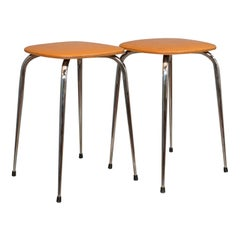 Pair of Vintage Lounge Stools, French, Leatherette, 1960s Stool, 20th Century