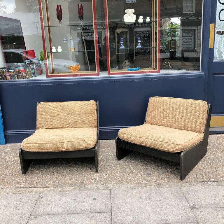 Mid-Century Modern Pair of Vintage Low Seat Armchairs Modular Sofa Midcentury, 1960s For Sale