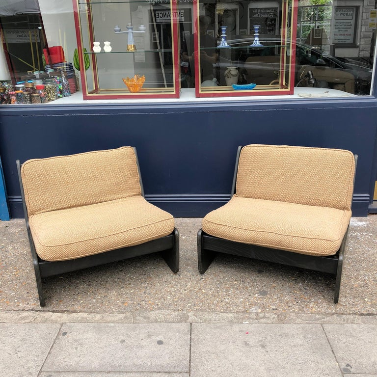 British Pair of Vintage Low Seat Armchairs Modular Sofa Midcentury, 1960s For Sale
