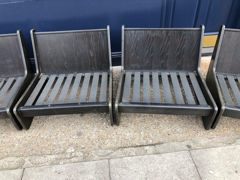 Pair of Vintage Low Seat Armchairs Modular Sofa Midcentury, 1960s In Good Condition For Sale In London, GB
