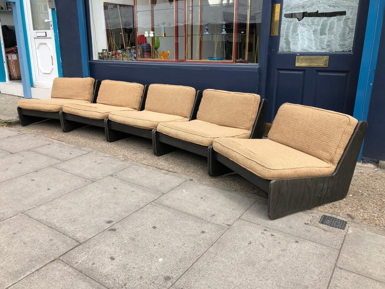 Mid-20th Century Pair of Vintage Low Seat Armchairs Modular Sofa Midcentury, 1960s For Sale