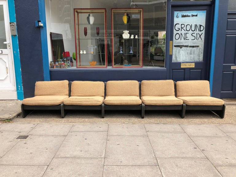 Fabric Pair of Vintage Low Seat Armchairs Modular Sofa Midcentury, 1960s For Sale