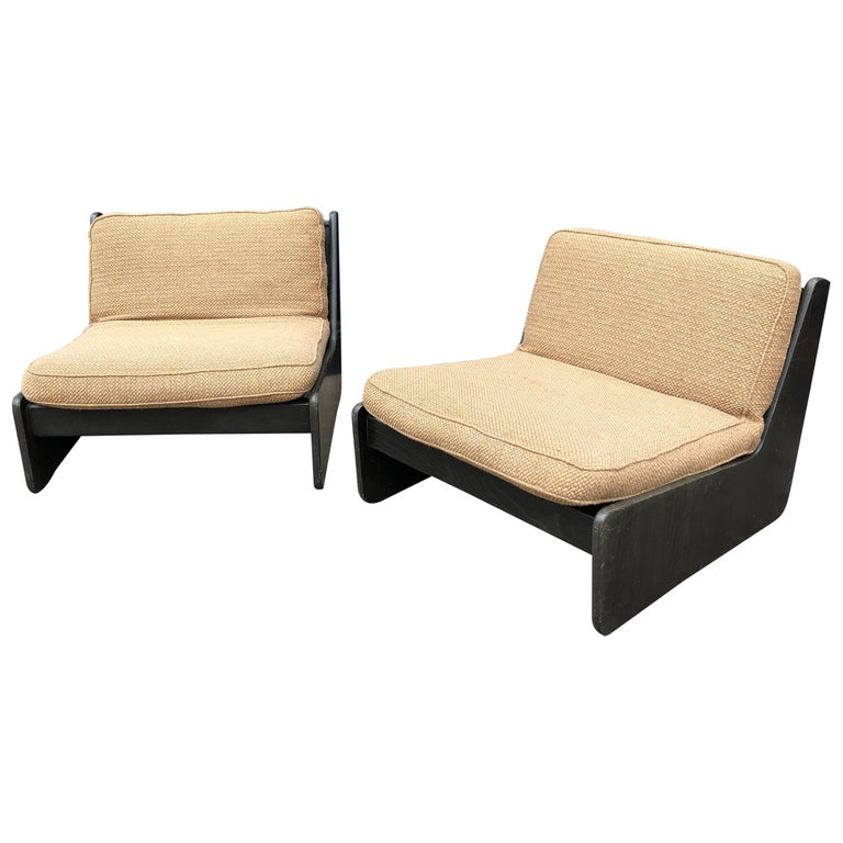 Pair of Vintage Low Seat Armchairs Modular Sofa Midcentury, 1960s For Sale
