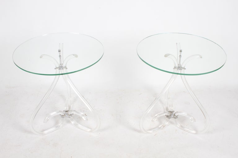 Pair of Vintage Lucite and Glass Side Tables in the Style of Dorothy Thorpe For Sale 9