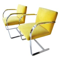 Pair of Vintage Ludwig Mies van der Rohe Flat Bar Brno Chairs