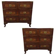 Pair of Vintage Mahogany and Brass Inlay Campaign Chests