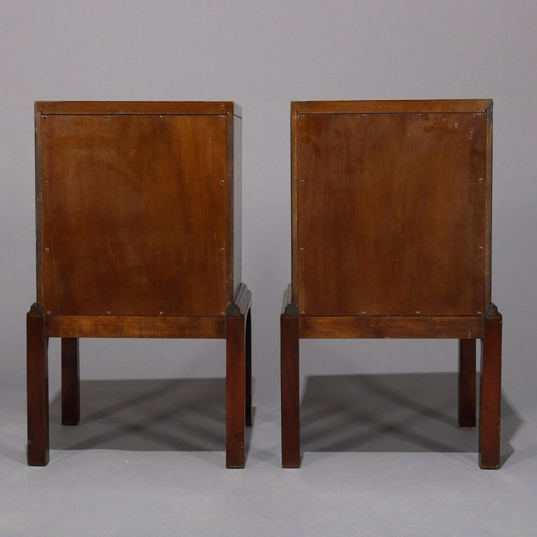 20th Century Pair of Vintage Mahogany Kittinger Chinese Chippendale Stands, circa 1950 For Sale
