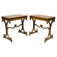 Pair of Vintage Mahogany Regency Style X-Frame Lamp Side End Tables by J. Zonon
