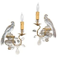 Pair of Vintage Maison Baguès Rock Crystal Bird Form Sconces