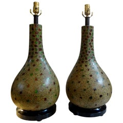 Pair of Vintage Maitland Smith Lamps on Tessellated Stone Bases